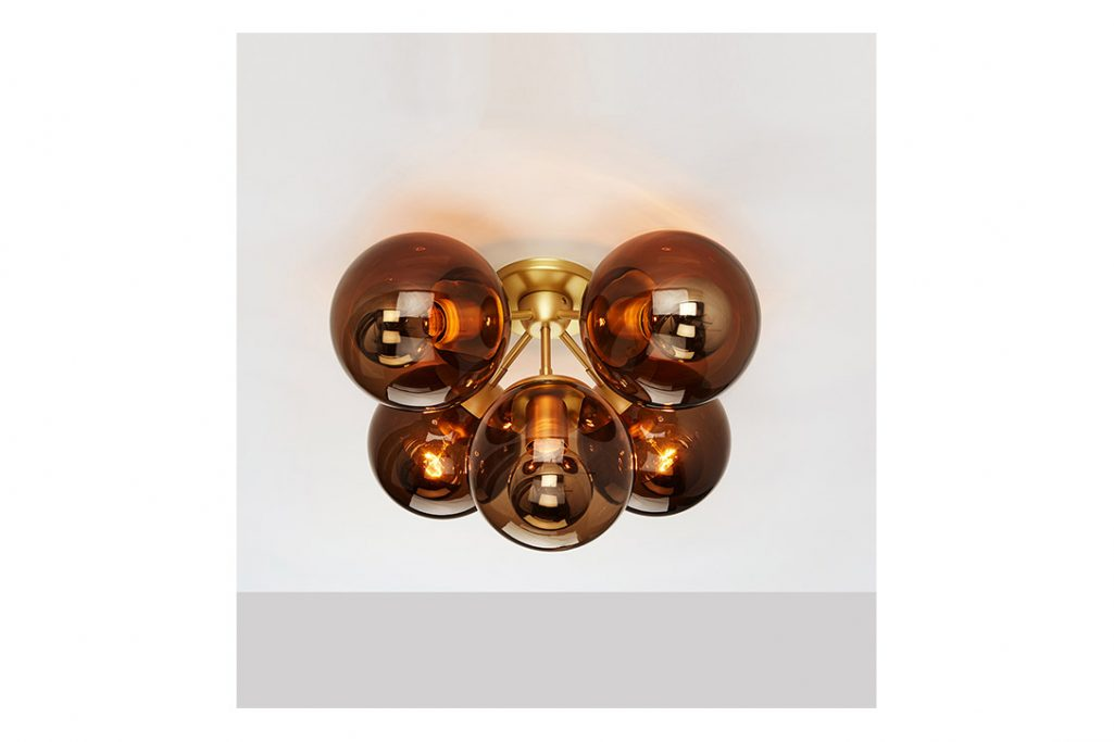 roll and hill modo ceiling light brass and smoke