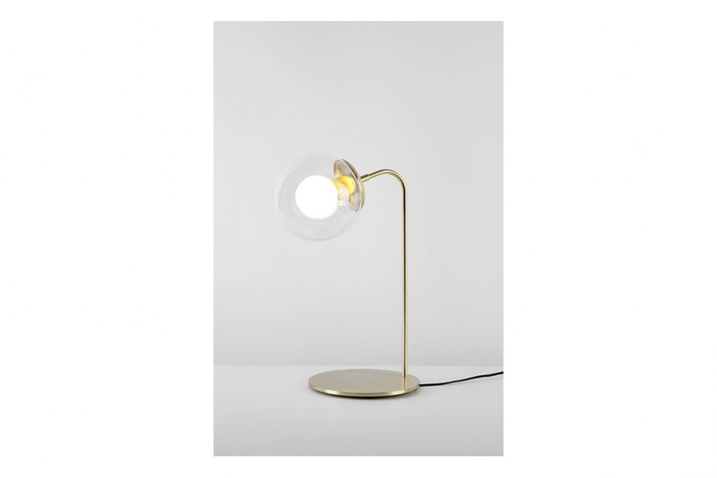 roll & hill modo desk lamp brushed brass clear glass