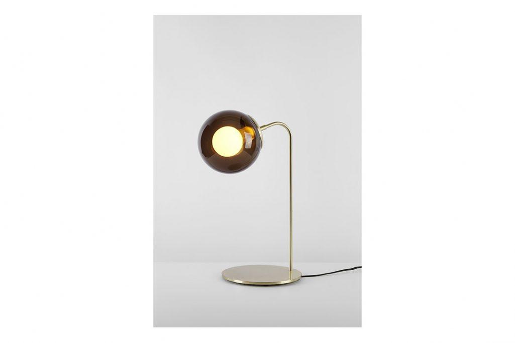 roll & hill modo desk lamp brushed brass smoke glass