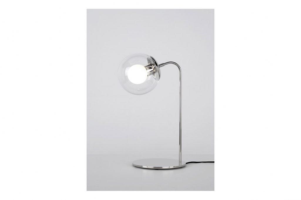 roll & hill modo desk lamp polished nickel clear glass