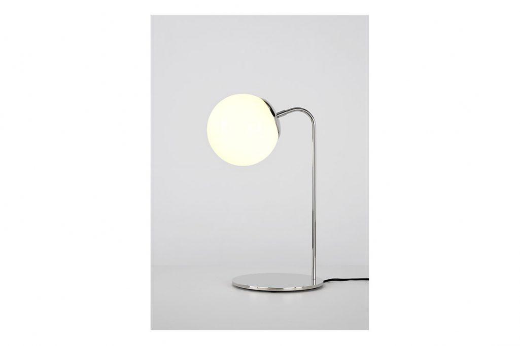 roll & hill modo desk lamp polished nickel cream glass