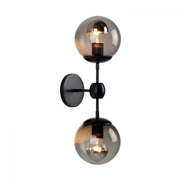 roll & hill modo sconce 2 globes bronze smoke glass