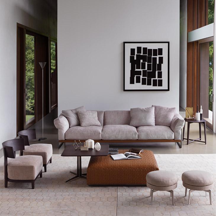 modern living room featuring a flexform bangkok ottoman