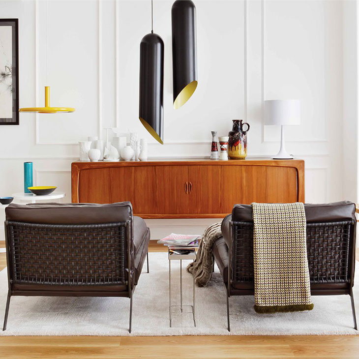 modern living room featuring two flexform happy chaise longues