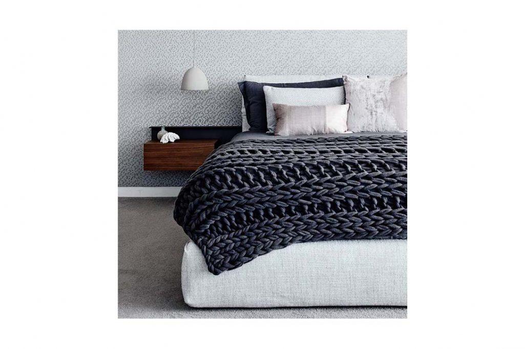 modern bedroom featuring flexform newbridge bed