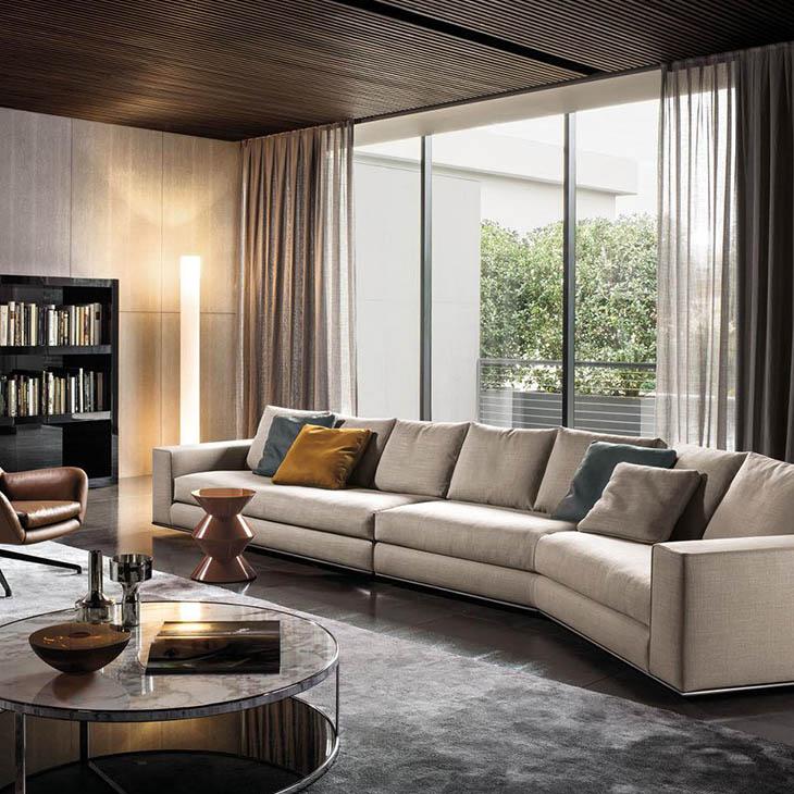 modern living room featuring minotti hamilton sofa