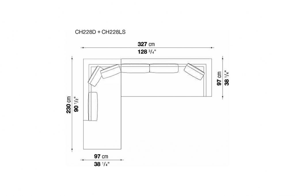 line drawing and dimensions for b&b italia charles sectional chaise left