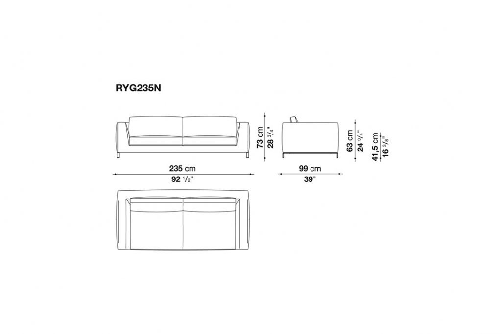 """line drawing and dimensions for b&b italia ray sofa 92"""""""