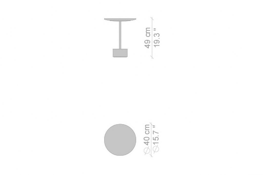 """line drawing and dimensions for cassina 9 table 19"""" high"""