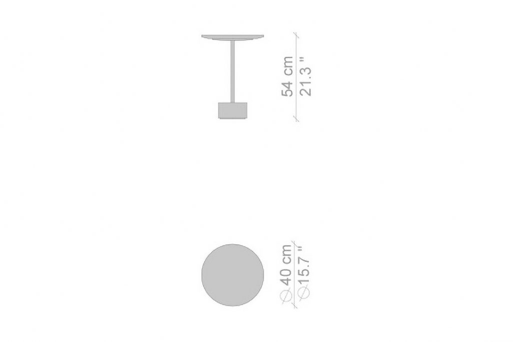 """line drawing and dimensions for cassina 9 table 21"""" high"""