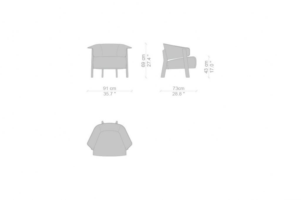 line drawing and dimensions for a cassina back-wing armchair