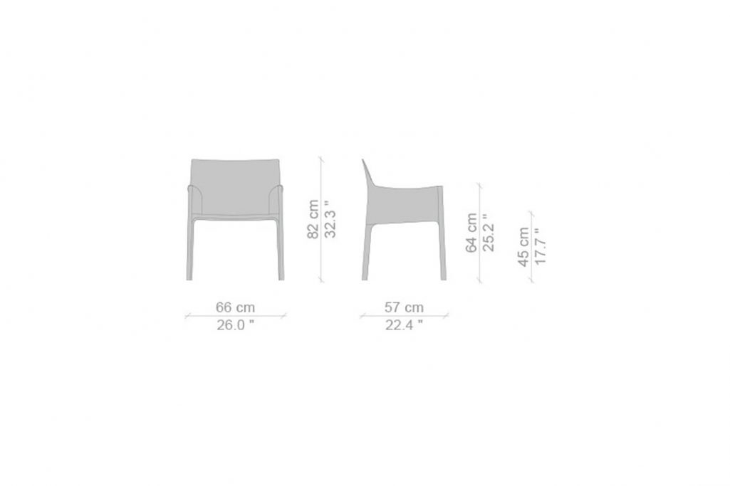line drawing and dimensions for cassina cab dining arm chair maxi