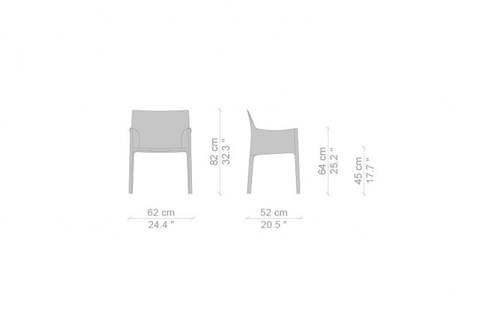 line drawing and dimensions for cassina cab dining arm chair standard