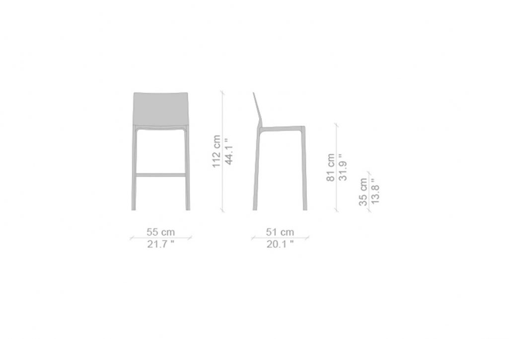 line drawing and dimensions for cassina cab bar stool