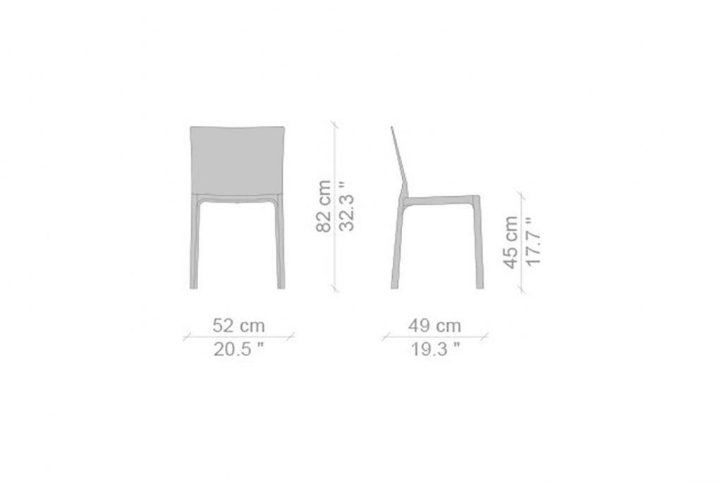 line drawing and dimensions for cassina cab dining chair standard