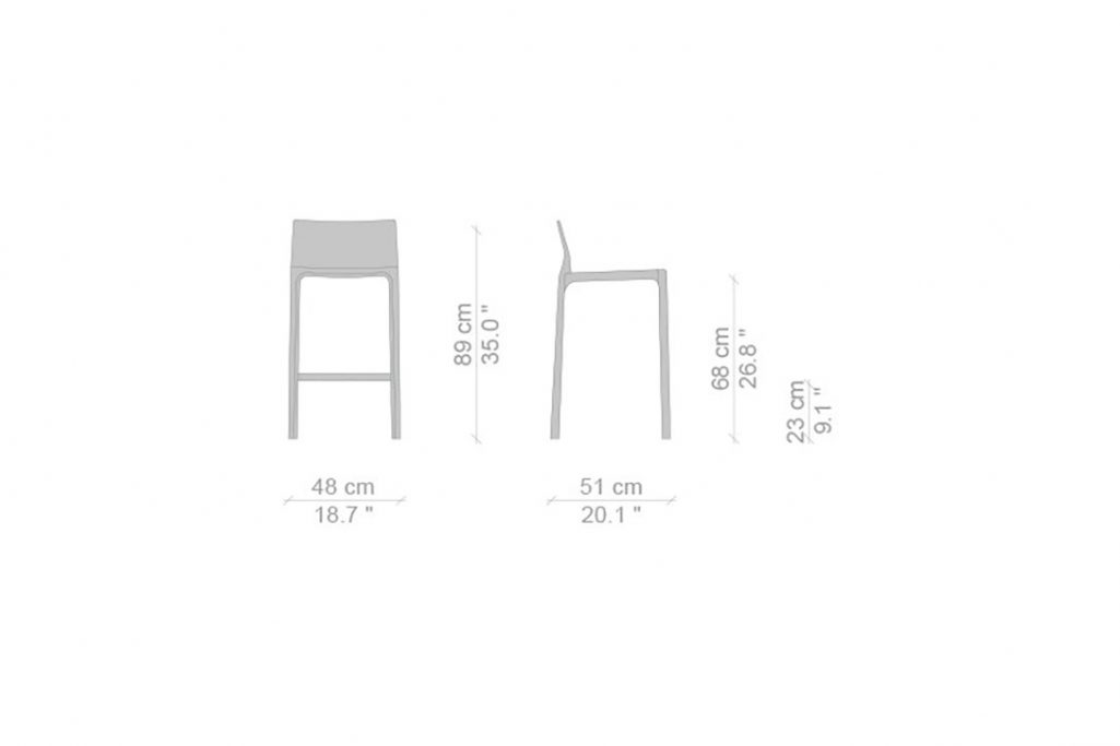 line drawing and dimensions for cassina cab counter stool