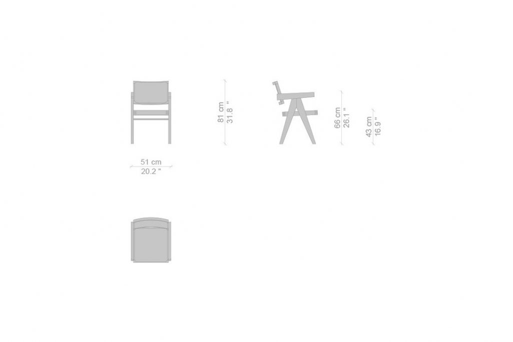line drawing and dimensions for a cassina capitol complex dining arm chair