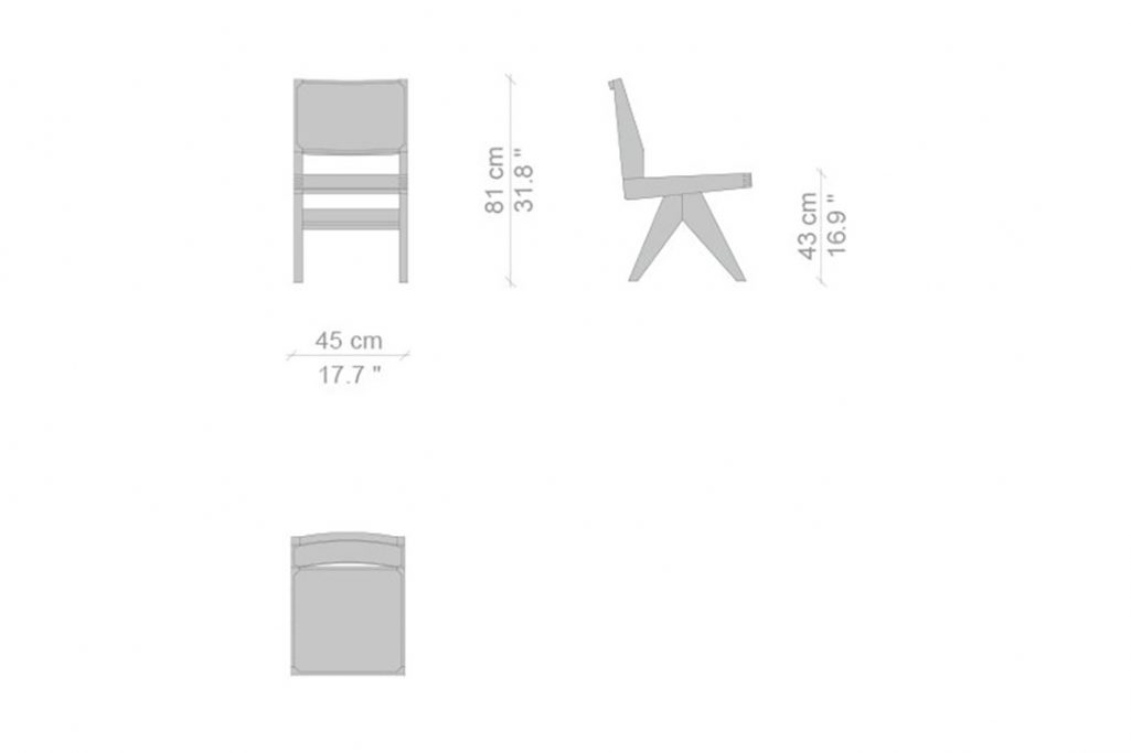 line drawing and dimensions for a cassina capitol complex dining chair
