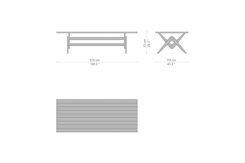 """line drawing and dimensions for cassina capitol complex dining table 106"""" x 43"""""""