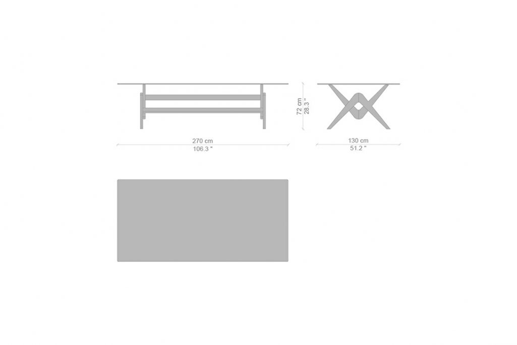 """line drawing and dimensions for cassina capitol complex dining table 106"""" x 51"""""""