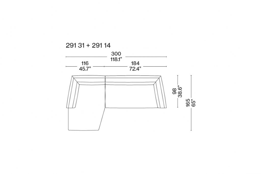 line drawing and dimensions for a cassina dress-up sectional chaise left