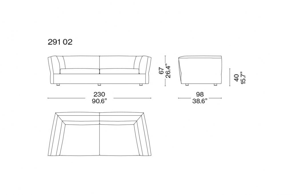 line drawing and dimensions for a cassina dress-up sofa