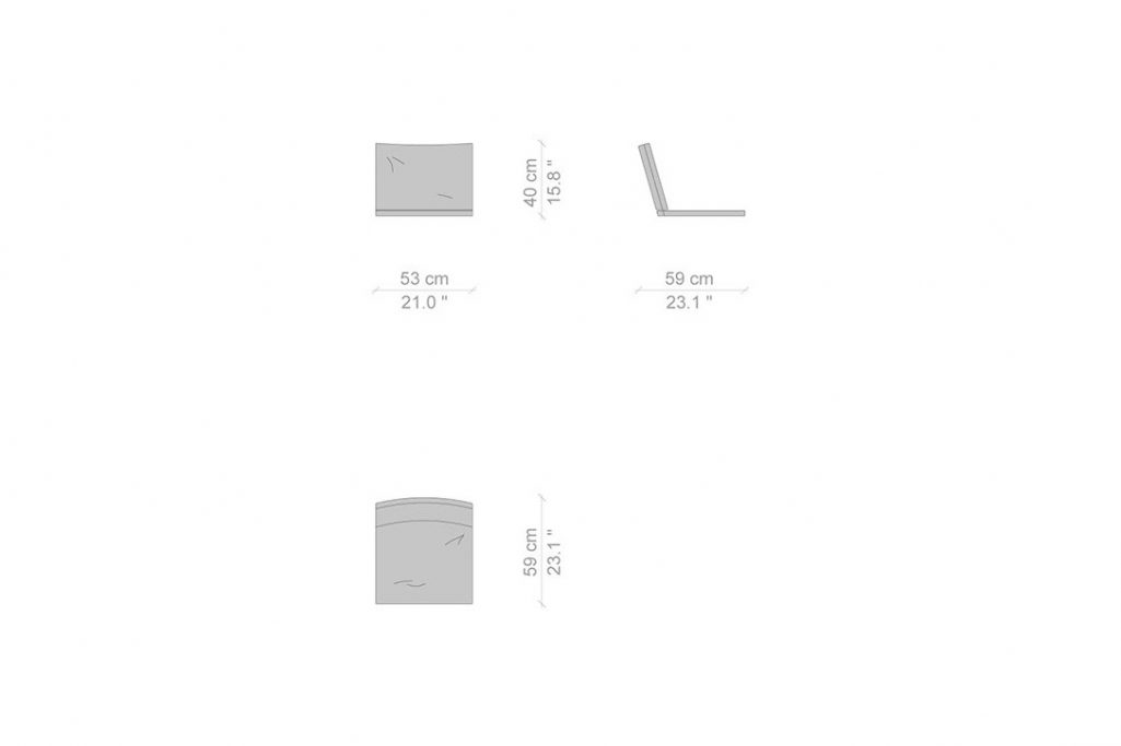 line drawing and dimensions for a cassina kangaroo chair