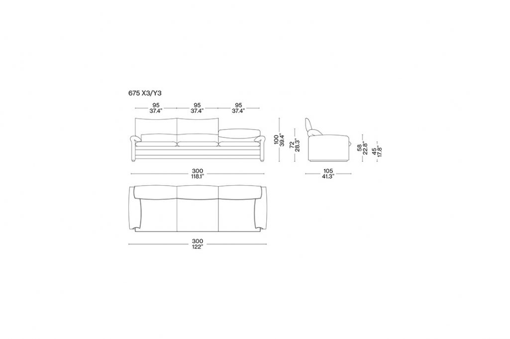 line drawing and dimensions for a cassina maralunga 40 maxi three seater sofa