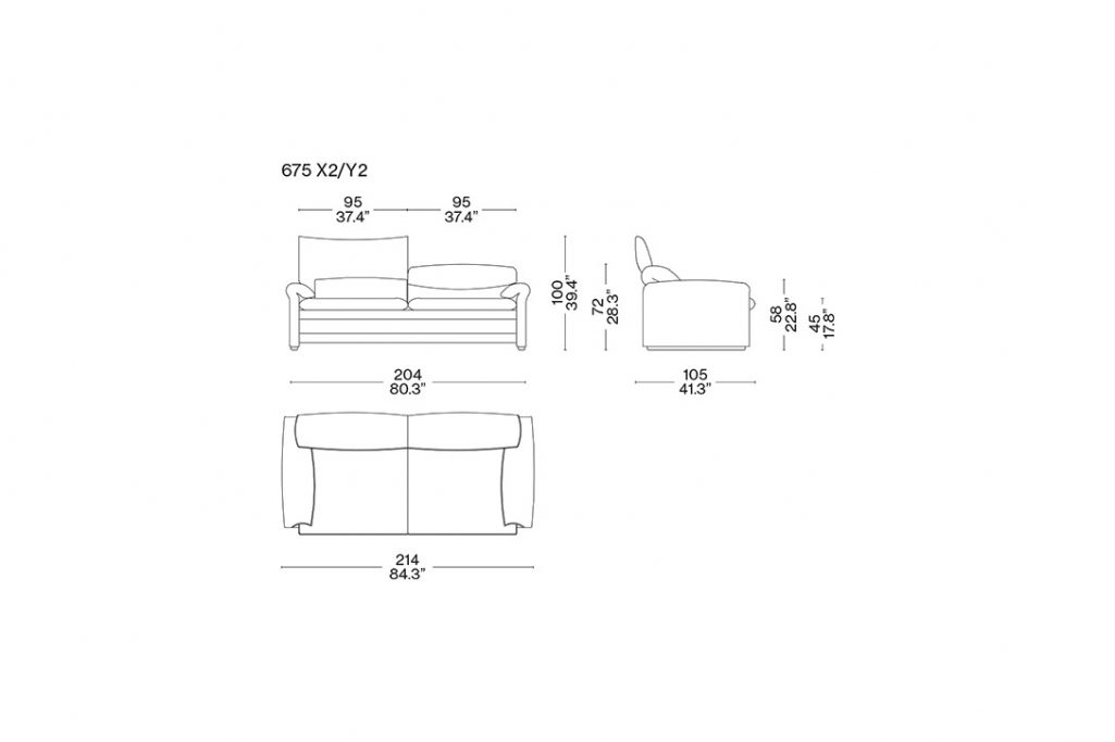 line drawing and dimensions for a cassina maralunga 40 maxi two seater sofa
