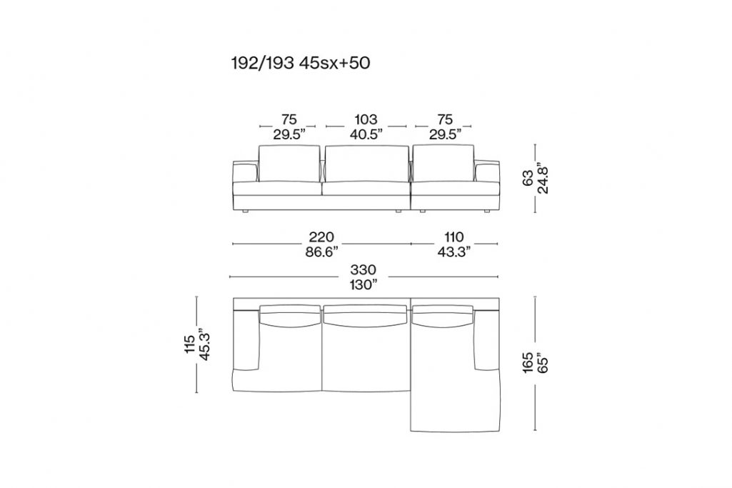 line drawing and dimensions for a cassina miloe three seater sofa
