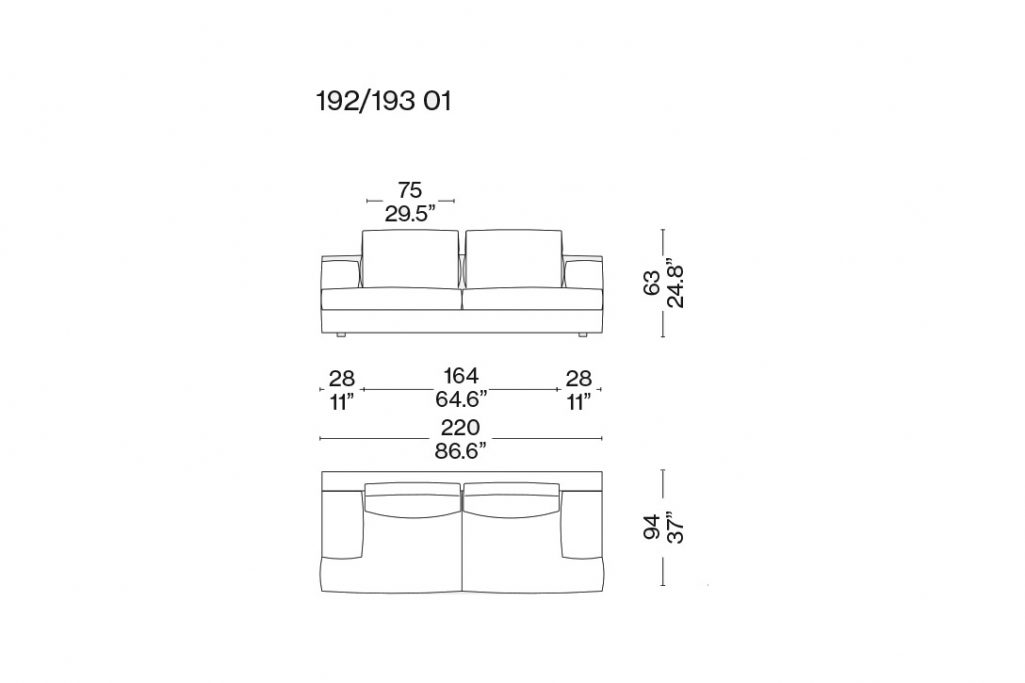 line drawing and dimensions for a cassina miloe two seater sofa