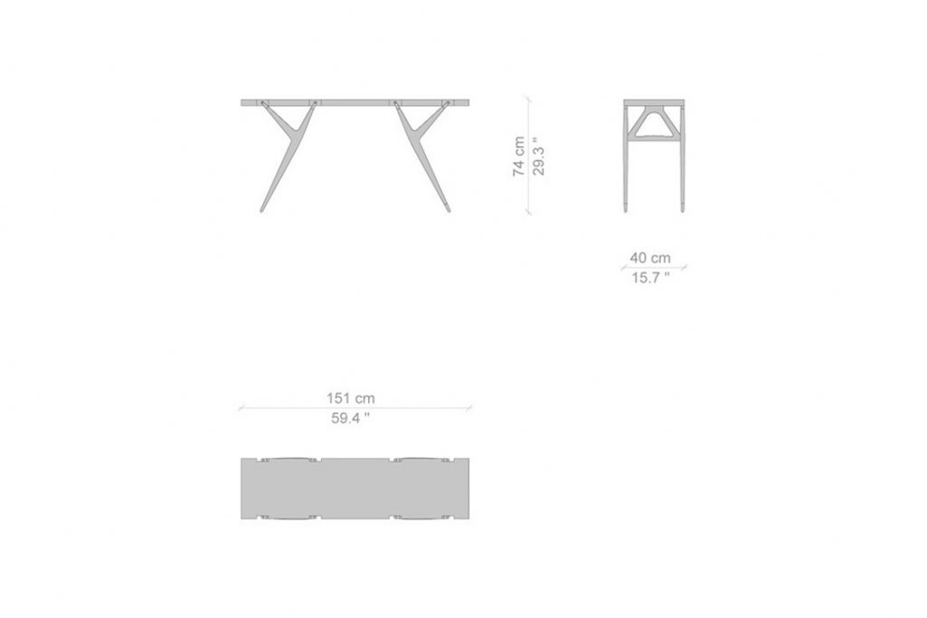 line drawing and dimensions for a cassina pa' 1947 table