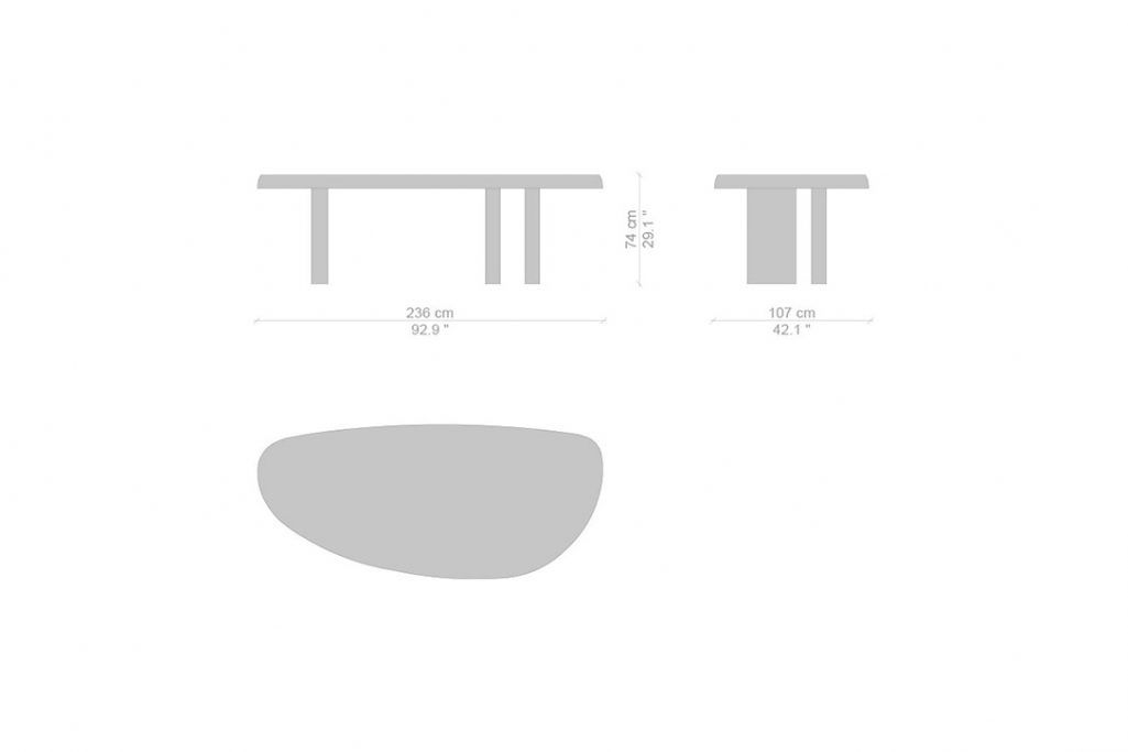 line drawing and dimensions for cassina table en forme libre