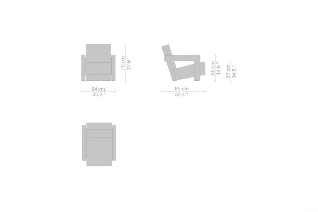 line drawing and dimensions for a cassina utrecht armchair