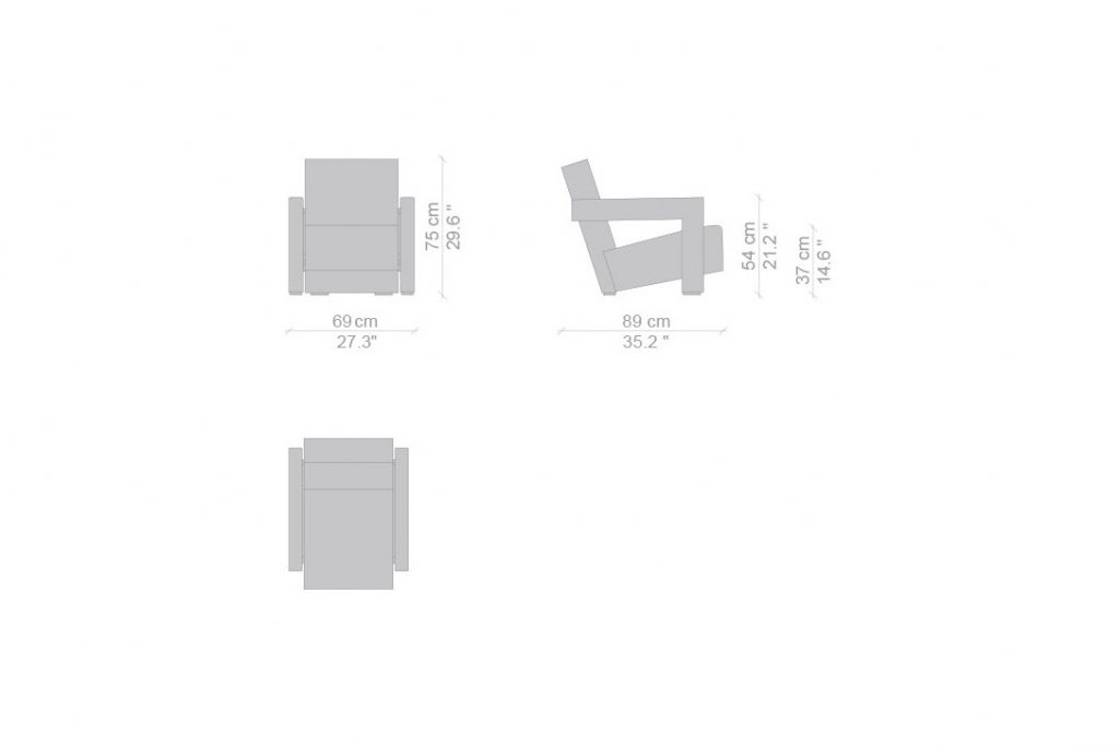 line drawing and dimensions for a cassina utrecht xl armchair