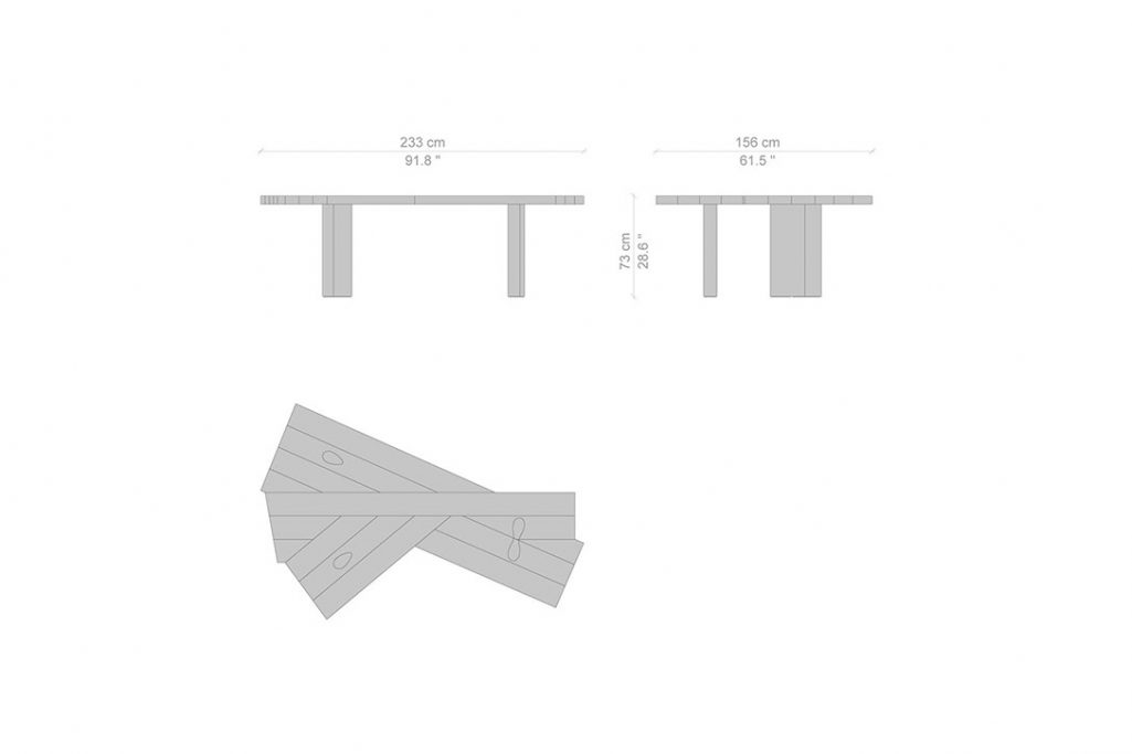 line drawing and dimensions for cassina ventaglio dining table