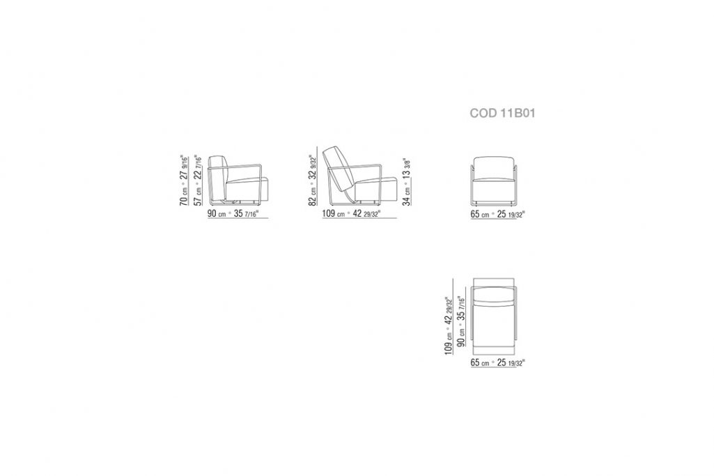 line drawing and dimensions for flexform abc armchair