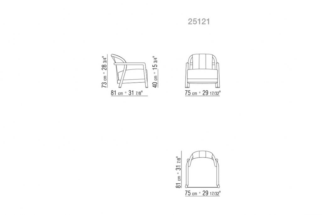 line drawing and dimensions for flexform alison armchair