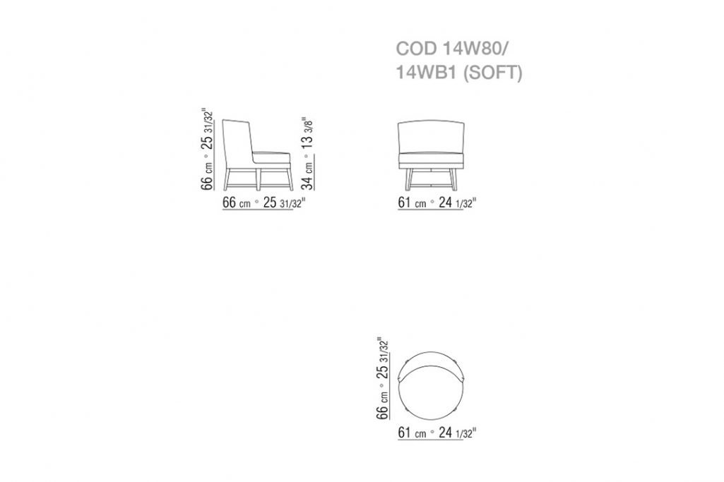 line drawing and dimensions for flexform feel good armchair wooden base fixed
