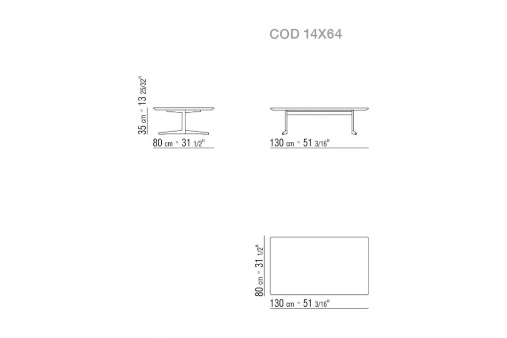line drawing and dimensions for a flexform fly coffee table low large rectangle