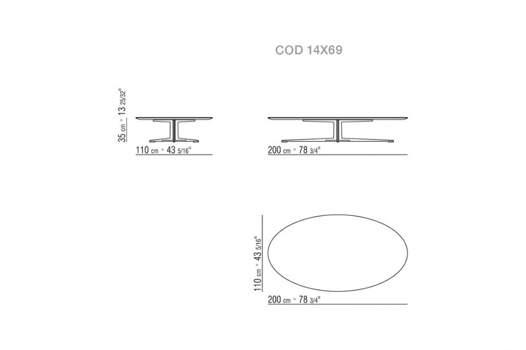 line drawing and dimensions for a flexform fly coffee table low oval
