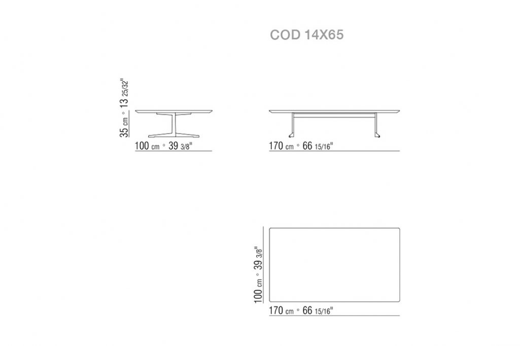 line drawing and dimensions for a flexform fly coffee table low rectangle