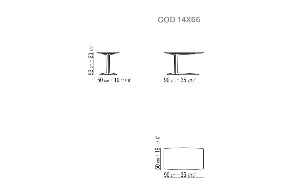 line drawing and dimensions for flexform fly side table rectangular 90cm x 50cm