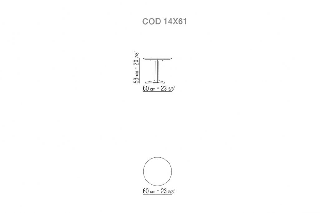 line drawing and dimensions for flexform fly side table round 60cm