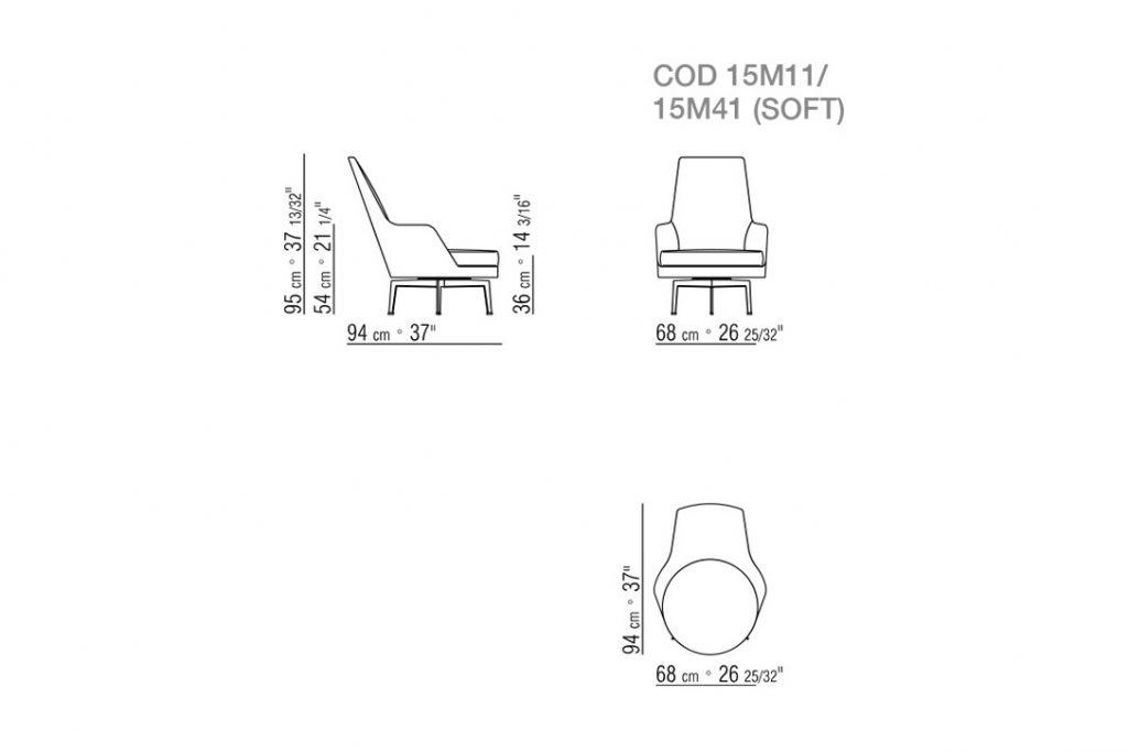 line drawing of a flexform guscioalto armchair metal base