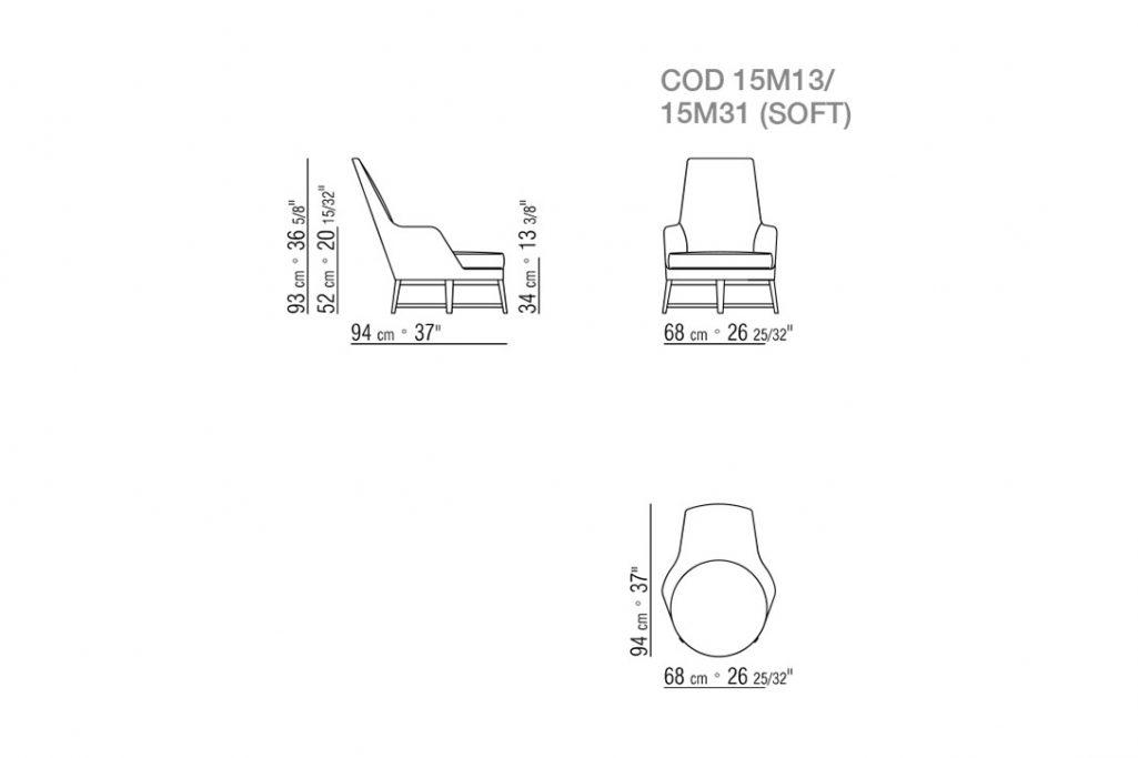 line drawing of a flexform guscioalto armchair wood base