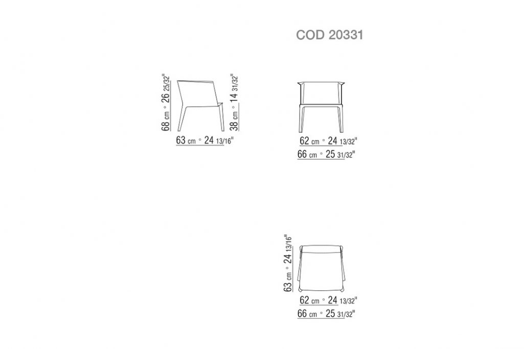 line drawing and dimensions for flexform isabel small armchair