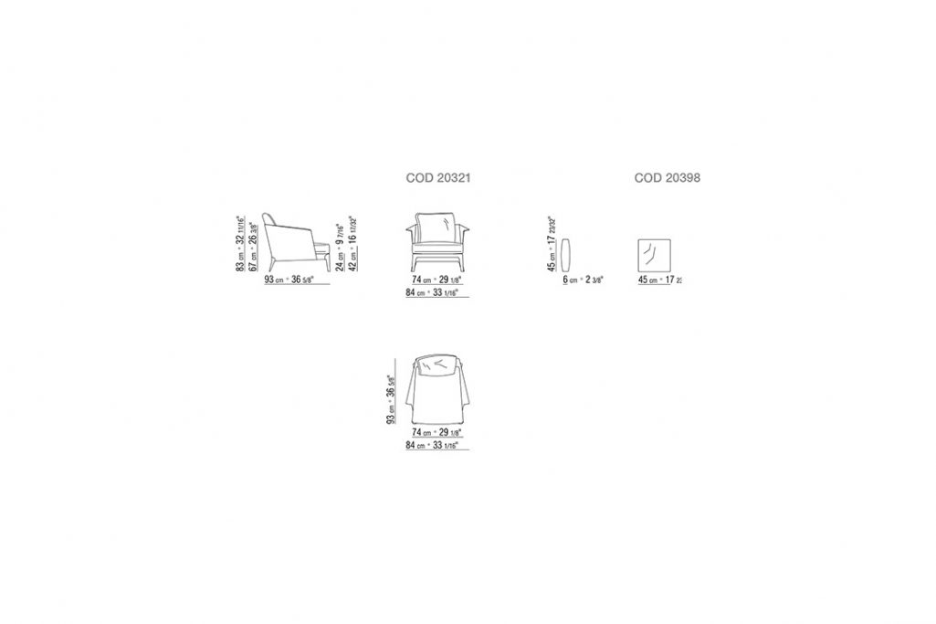 line drawing and dimensions for flexform isabel armchair with cushions