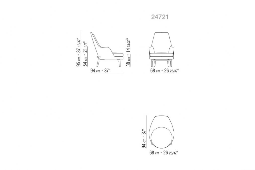 line drawing and dimensions for flexform leda armchair high back