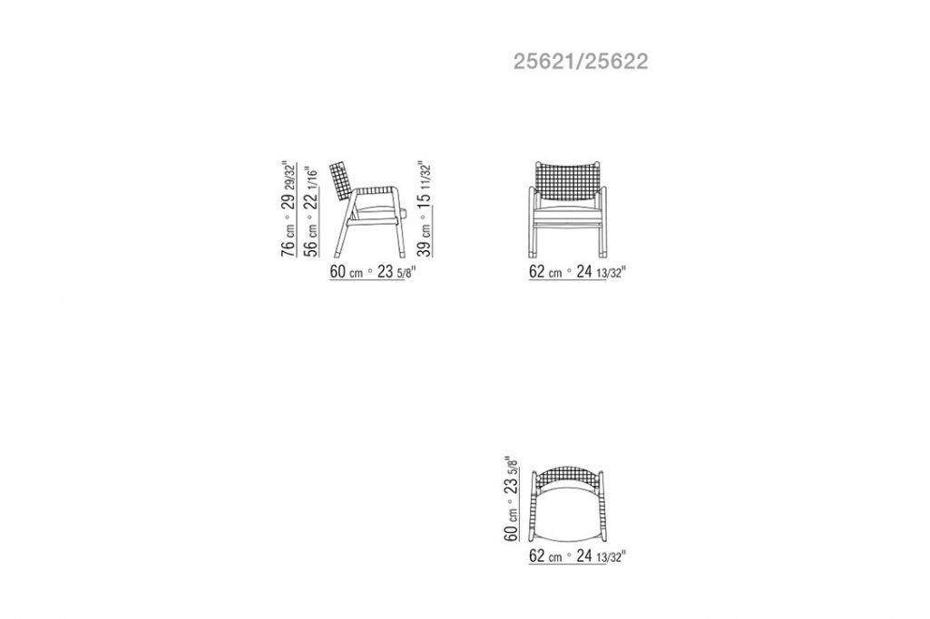 line drawing and dimensions for flexform ortigia armchair